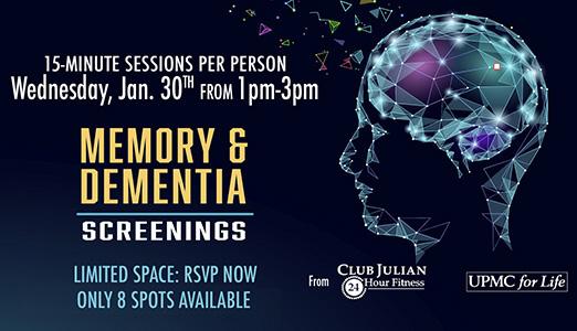 Cognitive and Dementia Screenings Jan. 30