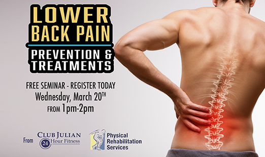 Preventing Lower Back Pain Seminar March 20