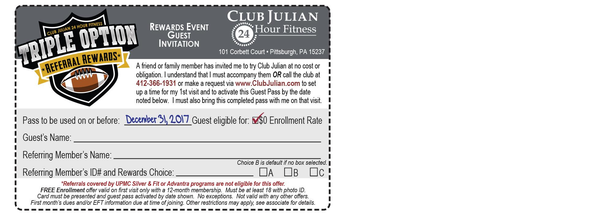 2017 Triple Option Referral Guest Pass